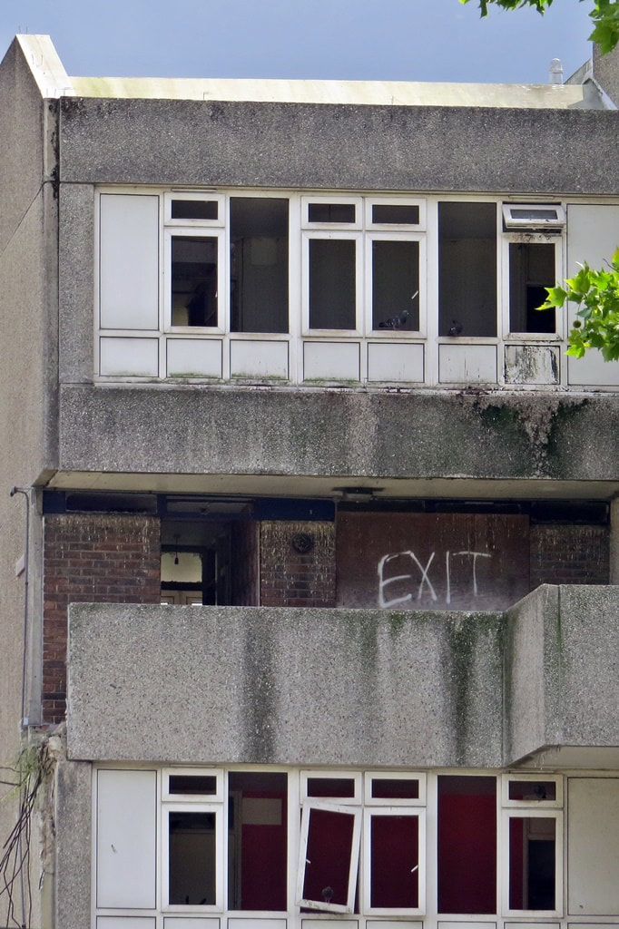 Derelict abandoned brutalist housing in Thamesmead, SE2