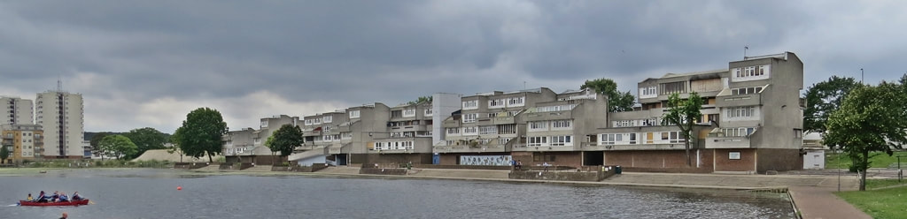 Southmere overlooked by Thamesmead Estate awaiting demolition  , London SE2