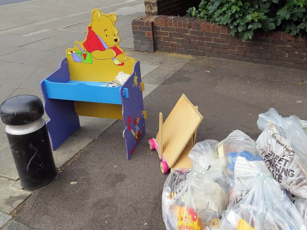 Fltipped Winnie the Pooh desk in Plaistow, East London