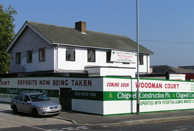 The Woodman on Snakes Lane East closed around 2006 and was demolished soon afterwards to leave a vacant site for a few years before a block of flats called Woodman Court was constructed.